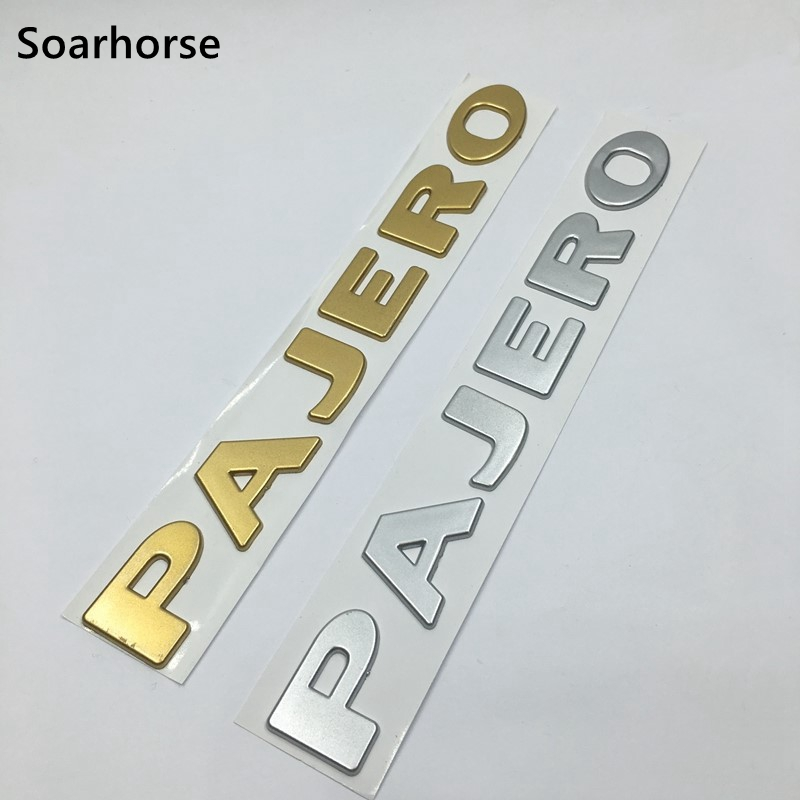 Soarhorse 3D for Pajero Letter Logo ABS Emblem Badge Stickers Car Body Side Logo Decal For Mitsubishi Pajero