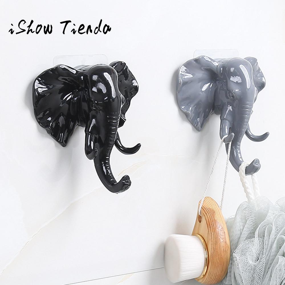 Elephant Head Self Adhesive Wall Door Hook Hanger Bag Keys Sticky Holder Sin Costura Vinculada #QG african elephant