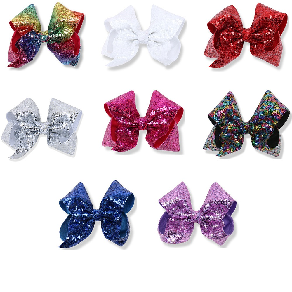 Boutique 40pcs 8 Fashion Cute Glitter Deluxe Satin Bow Hairpins Solid Sequin Rainbow Color Bowknot Hair Clips Hair Accessories