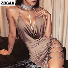 ZOGAA New Ladies Sexy Halter Bodycon Dresses for Night Club Solid Color Sleeveless Mini with Diamond-encrusted Spring 2019