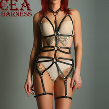 CEA.HARNESS 2Pcs Women Leather Harness Body Belts Garters Bondage Belt Punk Strap Garter Suspenders Straps Sexy Cage