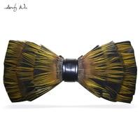 Fashion Vintage Women Feather Bow Tie Female Diy Bowtie Man Wedding Handmade Neckwear Male Mariage Designer Papillon Necktie