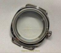 45mm 316L stainless steel watch case fit ETA 6497/6498 Mechanical Hand Wind movement Watch accessories bk21 K8