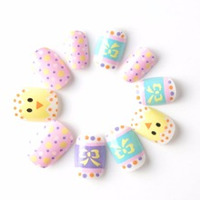 Hot Chicken and Spots Fake Nails Press on 20 Pcs Colorful Pre-glue False Nail Tips for Little Girls Kits patch for Finger