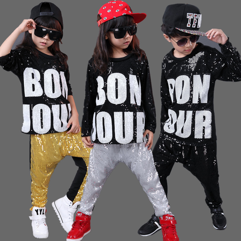 20pcs/lot Sequin Children Jazz Hip Hop Dance Costumes For Girls Boys Stage Show Competition Kids Hiphop Clothes Dancewear