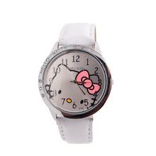 07cd191c1 Cartoon Fashion NEW Hello Kitty Quartz Watch Children Girl Women Leather Crystal  Wrist Watch Kids Wristwatch Clock relogio