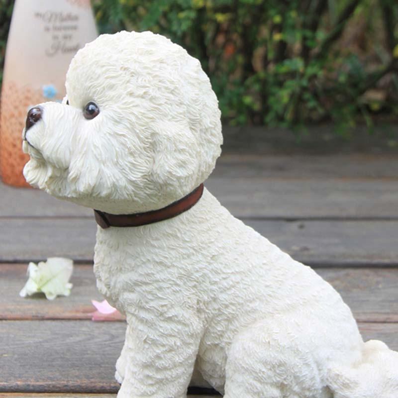 Mnotht Bichon Frise Simulación Perro Resina Cachorro Modelo de - Figuritas de juguete - foto 3