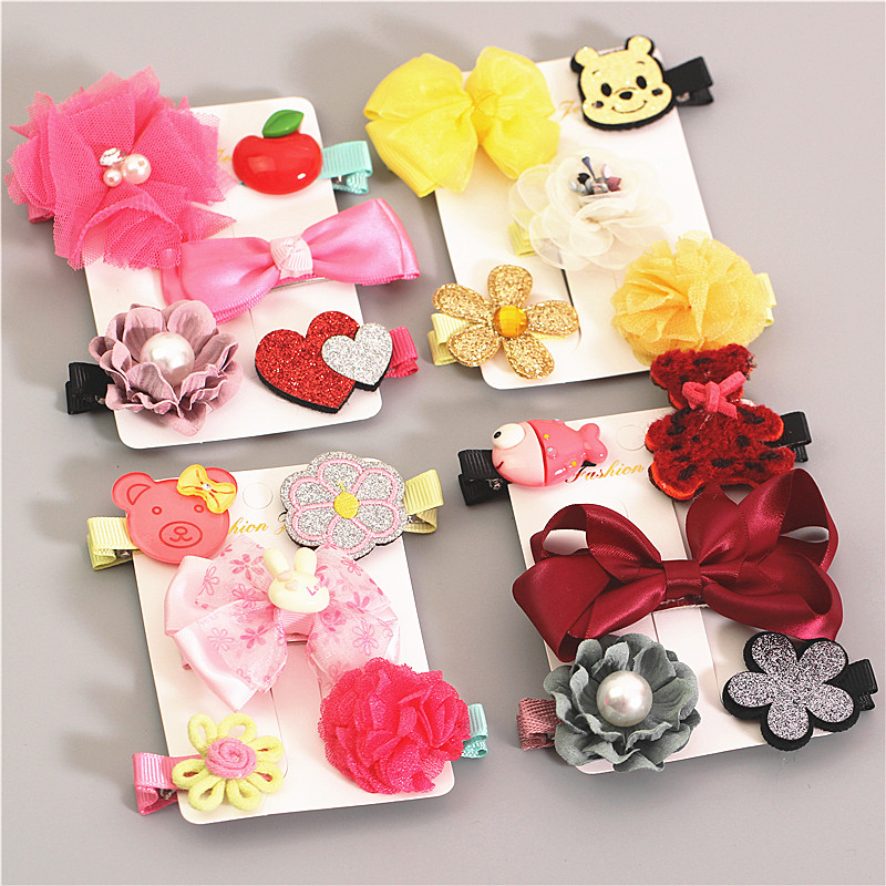 5 pics a suit kids Hairpin Girls Hair Clip Bows Pink Yellow Bowknot Hairpins Grosgrain Ribbon Character Hair Accessories YT-68 halloween party zombie skull skeleton hand bone claw hairpin punk hair clip for women girl hair accessories headwear 1 pcs
