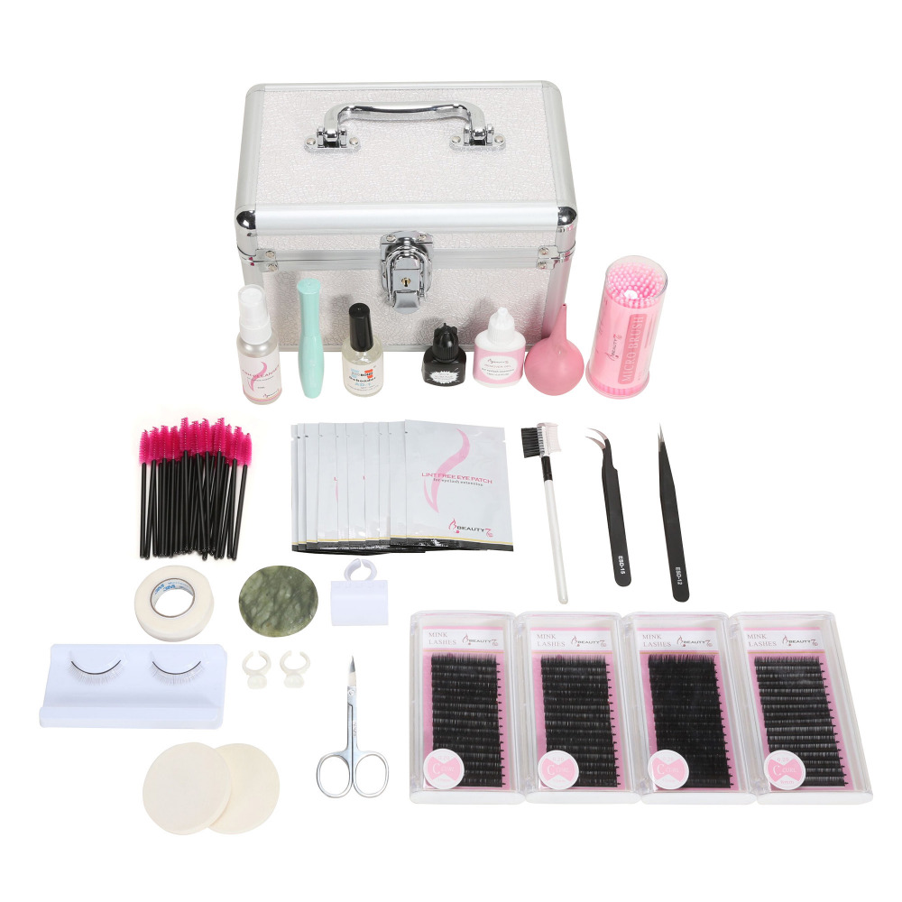False Eyelash Eyelashes Extension Kit for Starter Practice Makeup Tools Eyelash Extension Set with Glue Tweezer Tools Kit Bags все цены