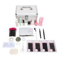 False Eyelash Eyelashes Extension Kit for Starter Practice Makeup Tools Eyelash Extension Set with Glue Tweezer Tools Kit Bags