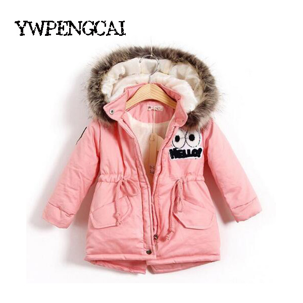 Autumn Winter Children Girls Warm Thick Jackets With Fur Hat Kids Parkas 90% Cotton Filling Girls Outdoor Coats 2-8 Years