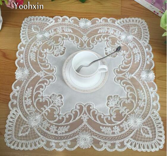 1dd7d16ffd30 New satin place table mat cloth lace pad embroidery pot cup mug holder  drink doilies Coffee