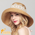 2016 New Lady Sun Hat Summer Straw Hat Women Folded Wide Brim Sun Cap Elegant Travelling Hat New Headwear  B-2281