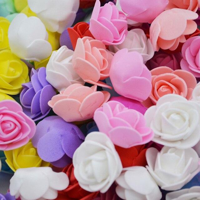50 cái/lốc 3 cm Mini Xốp PE Hoa Hồng Nhân Tạo Đầu Hoa Cho Trang Trí Nhà Vòng Hoa Tiếp Liệu Tiệc Cưới Đồ trang trí trang trí