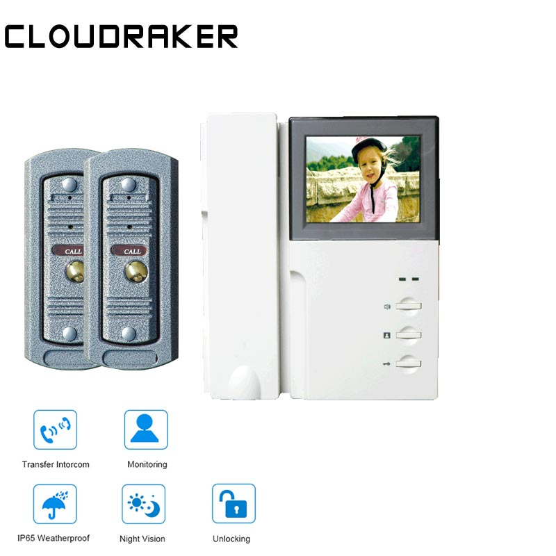 CLOUDRAKER 4.3 Video Intercom System 1x Monitor with 2x Pinhole Wired Video Door Phone Camera IR Night Vision UnlockCLOUDRAKER 4.3 Video Intercom System 1x Monitor with 2x Pinhole Wired Video Door Phone Camera IR Night Vision Unlock