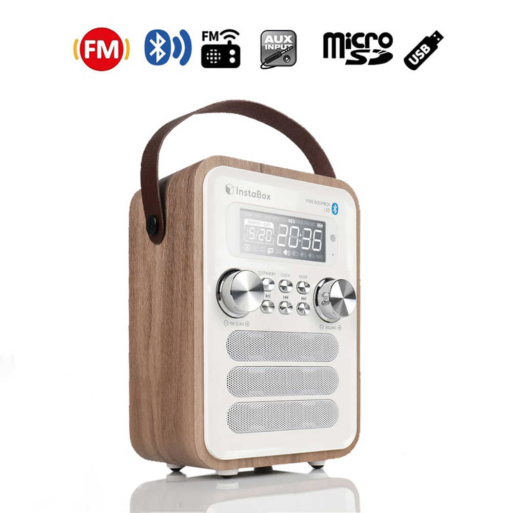 Instabox I10 Digital FM Radio Multi-Fungsional MP3 Pemain Kayu Clock Radio Menangani Portabel Retro Bluetooth Speaker Micro Sd /TF