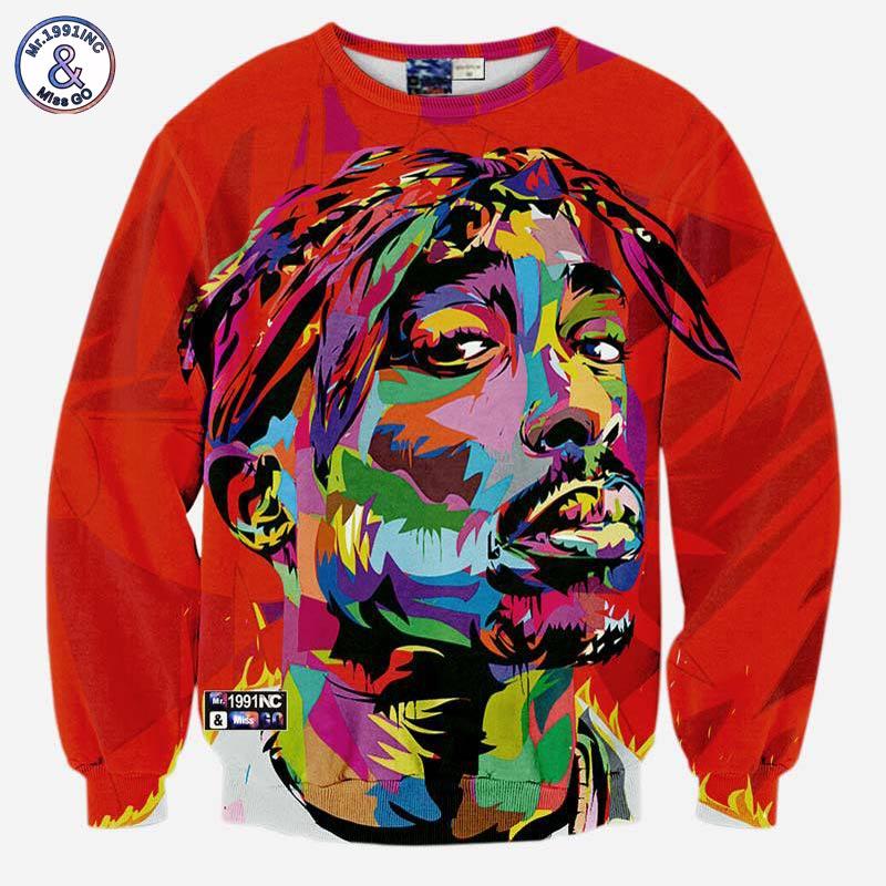 Mr.1991INC Hip hop 3d sweatshirt for men autumn pullovers print rapper Tupac 2pac hoodies long sleeve tops red color