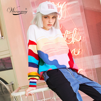 Women New vintage warm sweaters Rainbow Striped pullovers winter Spring knitted retro loose knitted tops blusas C 078