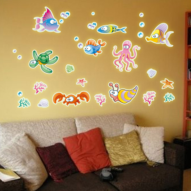 Colorful underwater world face luminous stickers fluorescence posted ...