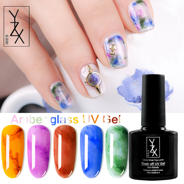 YiZhiXiu 1pcs 10ml Transparent Texture of UV Gel Like Amber Soak Off Glass UV Gel Nail Polish Special Varnish Lacquer Manicure