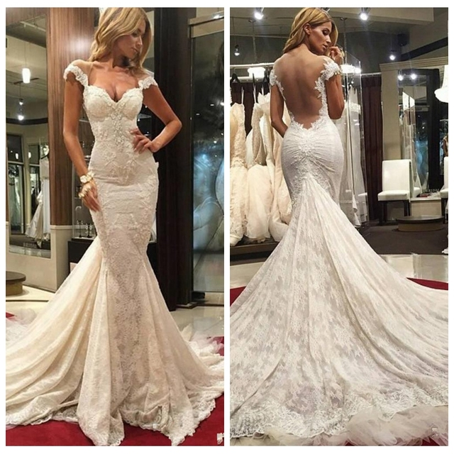 Mermaid Style Wedding Dress.Us 169 0 Modest Wedding Dresses With Cap Sleeves Mermaid Style Open Back 2017 Full Lace Plus Size Berta Bridal Gowns Chapel Train In Wedding Dresses