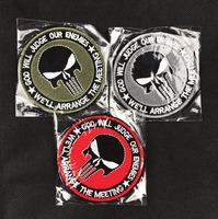 20pcs Embroidery Punisher Patch Cloth Skull Tactical Patches Hook Loops Military Morale Badge Combat Armband Army Brassard 8cm
