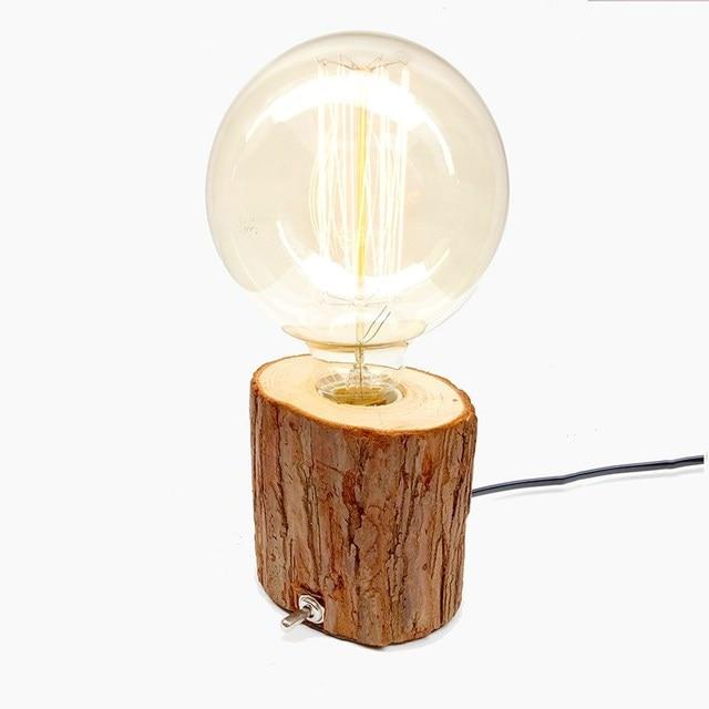 Luminaria De Mesa Coffee Shop Table Lamp Wood Vintage Desk Lamp Dimmable  40W Edison Bulb 220V