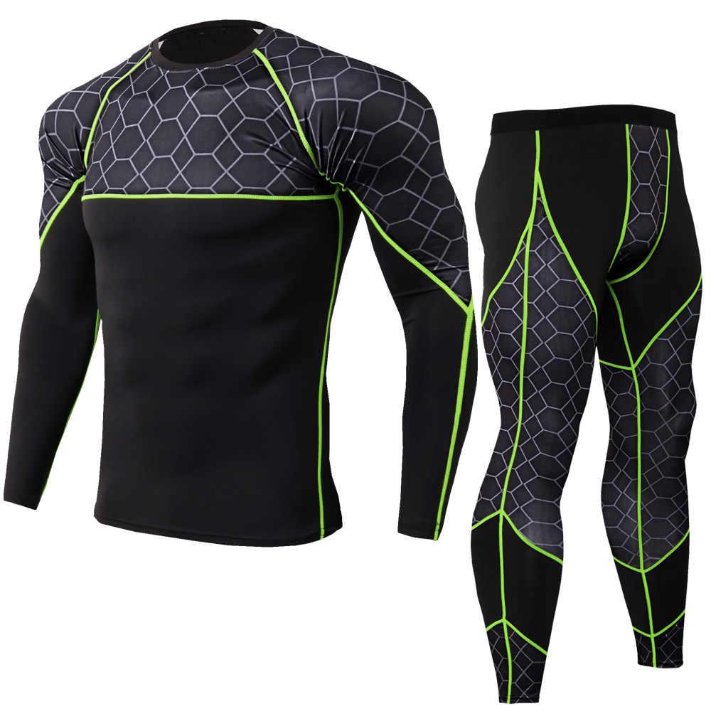 16d66c8ef1763 2019 nuevo de compresión de los hombres trajes de deporte de secado rápido  corriendo establece hombres