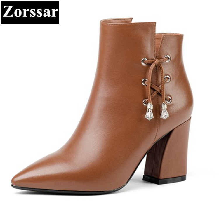 {Zorssar}2018 NEW High quality fashion Women Boots leather pointed Toe High heels ankle Riding boots autumn winter female shoes