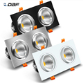 [DBF] черный/белый/серебристый квадратный вмонтированный Светильник 3000K/4000K/6000K с регулируемой яркостью 10 Вт 14 Вт 18 Вт 24 Вт 2 головки потолочная ...