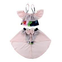 2pcs Set Lovely Kids Baby Girl Bikini Floral Swimwear Swimsuit Bathing Suit Beachwear Sweet Mesh Bandage Bow Brand Swimsuits