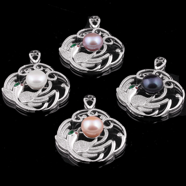 [MeiBaPJ] Luxury large phoenix pendant necklace jewelry 12-13mm big natural freshwater pearl with real 925 sterling silver