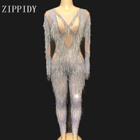 2019 Mesh Bodysuit Sexy Transparent Tassel Women Jumpsuit Stage Dance Wear Birthday Celebrate Stretch Costume YOUDU