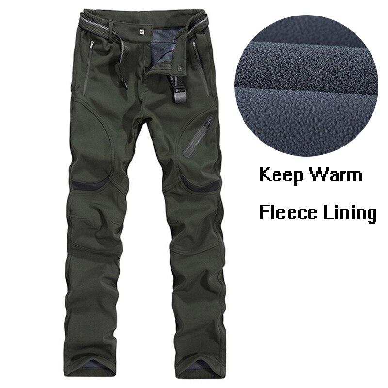 Hommes Plus Taille 4XL 5XL 6XL 7XL 8XL 9XL Hiver Pantalon Sport Softshell Doublée Polaire Chaud D'escalade En Plein Air Neige Doux pantalon coquille
