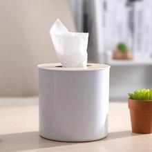 Kitchen Round Wooden Plastic Tissue Box Solid Wood Napkin Holder Case Simple Stylish 12.8*13.4cm