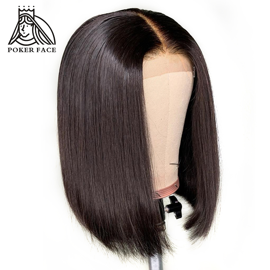 Poker Face Bob Wigs Short Lace Front Wig Human Hair Brazilian Hair Straight Lace Front Wig For Black Women Remy Hair Hair Extensions & Wigs
