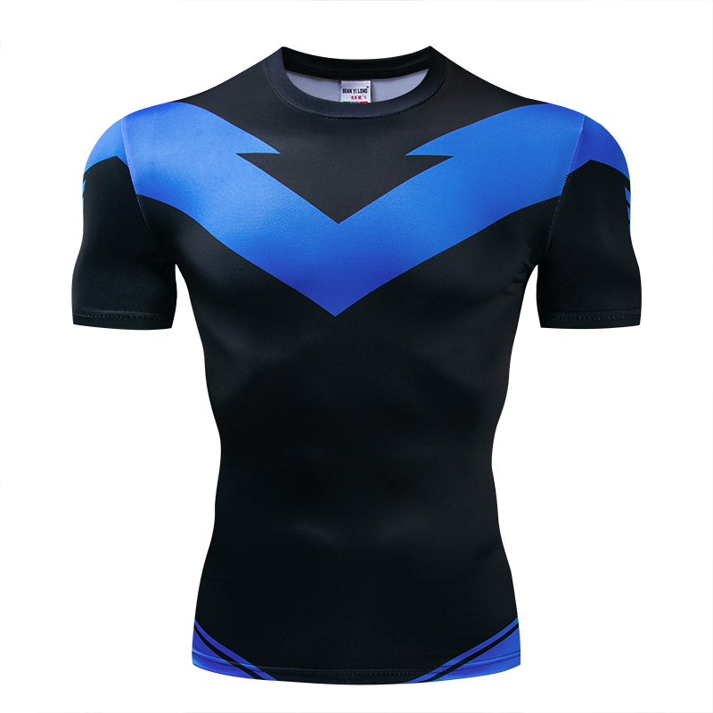 New Nightwing Short Sleeve Compression Shirts Thanos 3D Printed T Shirts Men 2018 Summer NEW Crossfit Top For Male Fitness Cloth