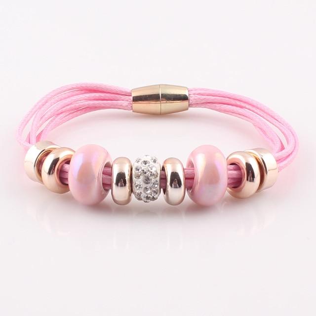 2017 New Fashion 6 Layer Leather Bracelet Bangle with Europe Big Hole Beads Charms magnetic clasp bracelet JJAL B320