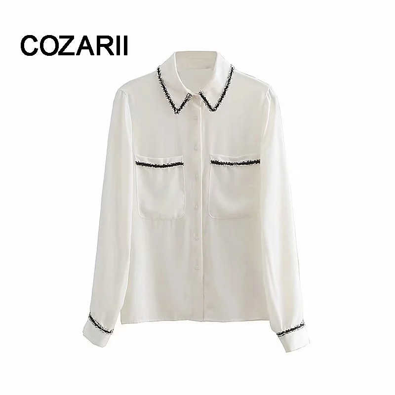 COZARII  blusa feminina kimono blouse blusas mujer de mod england patchwork 2018 shirt womens tops and blouses plus size
