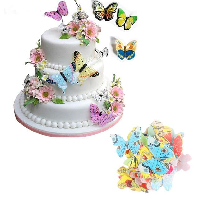 42 قطعة مختلط الملونة فراشة كعكة أداة زخرفة كب كيك القبعات العالية كعكة الصالحة للأكل الكرتون الأرز رقاقة ورقة كب كيك القبعات العالية المولد