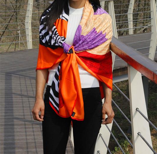 Estilo do verão mulheres meninas big praça silk scarf longo zebra cavalo/pena impresso cachecol xale cachecol feminino bufandas orange