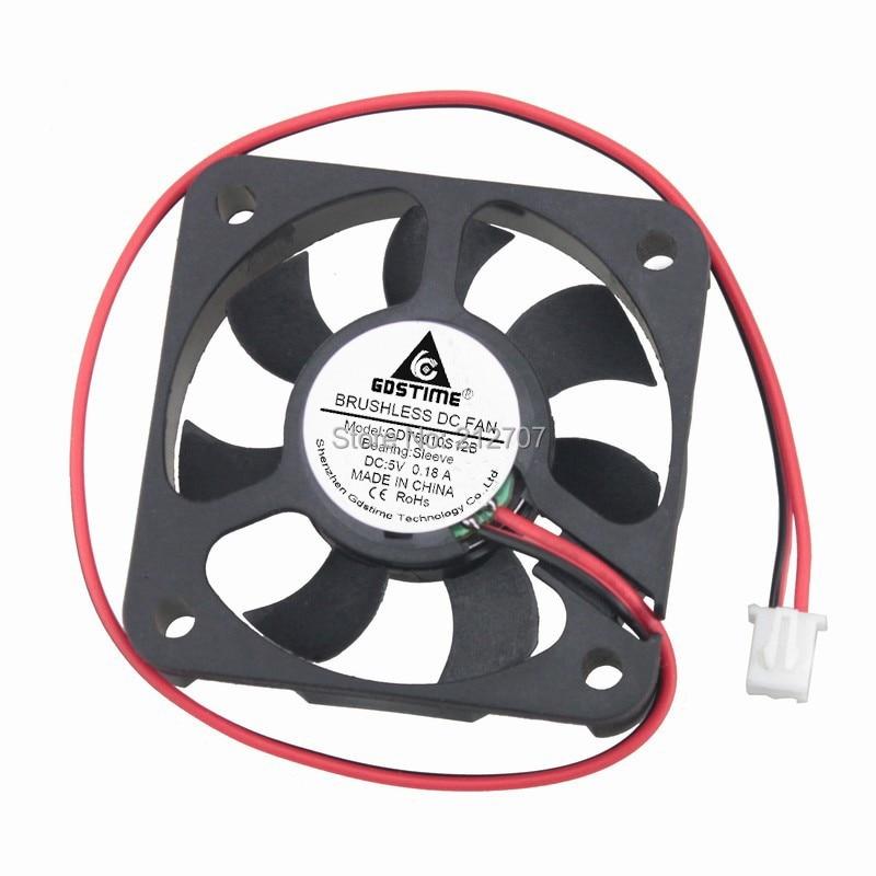 50 pcs Gdstime 50mm 7 Lâminas DC Ventilador De Refrigeração De Energia 5 v 2Pin 5 cm 5010 50x50 x 10mm