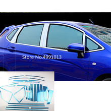 For Honda Fit Jazz 2017 2018 2019 car body cover sticker stainless steel glass window garnish pillar middle column trim panel цена