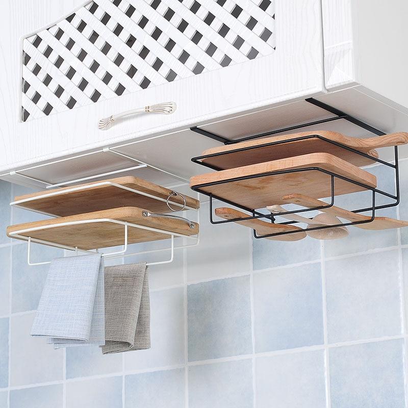 Free Punching Iron Shelf No Rusting Chopping Board Holder Stand Two Layers Kitchen Storage Rack Cabinet Door Hanging Shelf