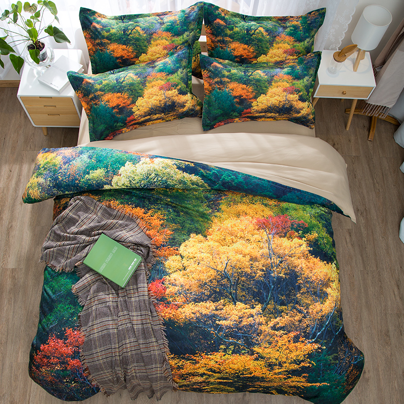 printed korean bedding set colorful forest comforter set single twin queen king size 3/4PC duvet cover kids beautiful home decorprinted korean bedding set colorful forest comforter set single twin queen king size 3/4PC duvet cover kids beautiful home decor