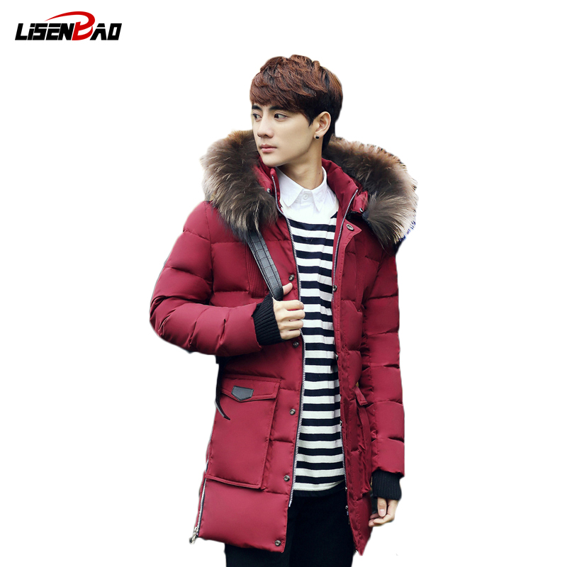 LiSENBAO New Fashion winter down jacket men warm Casual Jackets Top quality Fur Hooded Winter Jacket Men coat brand clothing 918 2016 new high quality brand men winter cotton down jacket coat parka clothing men and women hooded warm outerwear overcoat