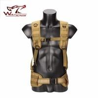 Military Tactical Adjustable Waist Padded Strap with H shaped Suspender Shoulder Belt Cummerbund Vest Airsoft Hunting Accessory