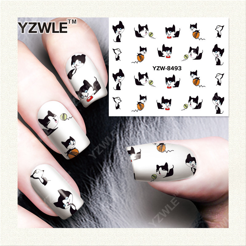 YWK  1 Sheet DIY Designer Water Transfer Nails Art Sticker / Nail Water Decals / Nail Stickers Accessories (YZW-8493) yzwle 1 sheet diy designer water transfer nails art sticker nail water decals nail stickers accessories yzw 8565