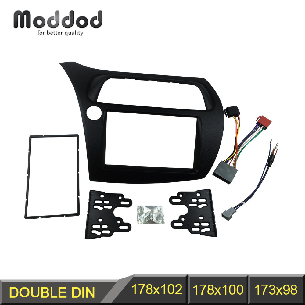Double Din Fascia for Honda Civic Radio DVD Stereo Panel Dash Installation Face Frame with Wire Harness Antenna