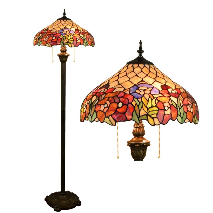 16inch Tiffany Flesh Country Flowers Stained Glass floor lamp E27 110-240V for Home Parl ...